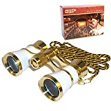 HQRP 3 x 25 Opera Glasses Binocular White pearl with Gold Trim, Crystal Clear Optic (CCO), Necklace Chain in Gift Box