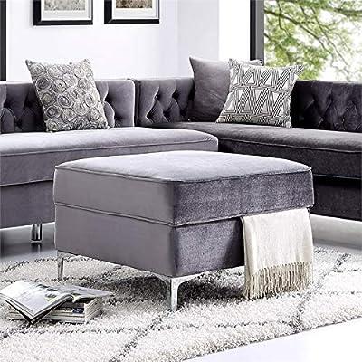 Brika Home Velvet Tufted Storage Ottoman in Light Gray and Chrome