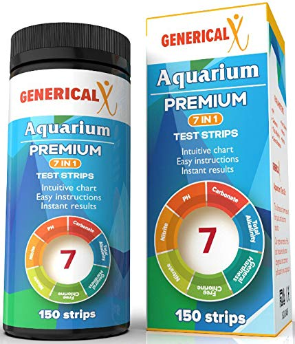 Aquarium Test Strips Kit 7 Parameter (FDA Approved 150 Strips) for: ✓Nitrite ✓pH ✓Free Chlorine ✓Carbonate ✓Total Alkalinity ✓General Hardness ✓Nitrate Safe for Freshwater Saltwater or Ponds