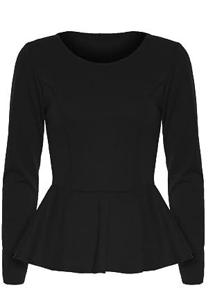 Be Jealous - Haut Femme Peplum Uni Peplum Manche Long Volant Evasé Mini  Robe Top - 69d129b063d2
