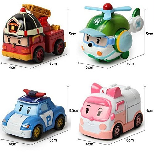 4pcs/lot kids toys robot Transform festival gifts deformation helicopter fire truck police action figure doll boys gifts toy