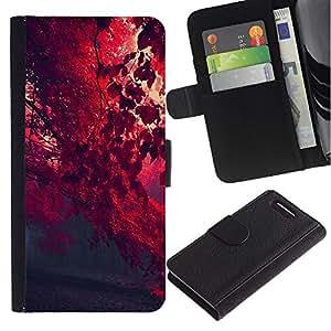 LECELL--Cuero de la tarjeta la carpeta del tirón Smartphone Slots Protección Holder For Sony Xperia Z3 Compact -- Red Leaf Forrest --