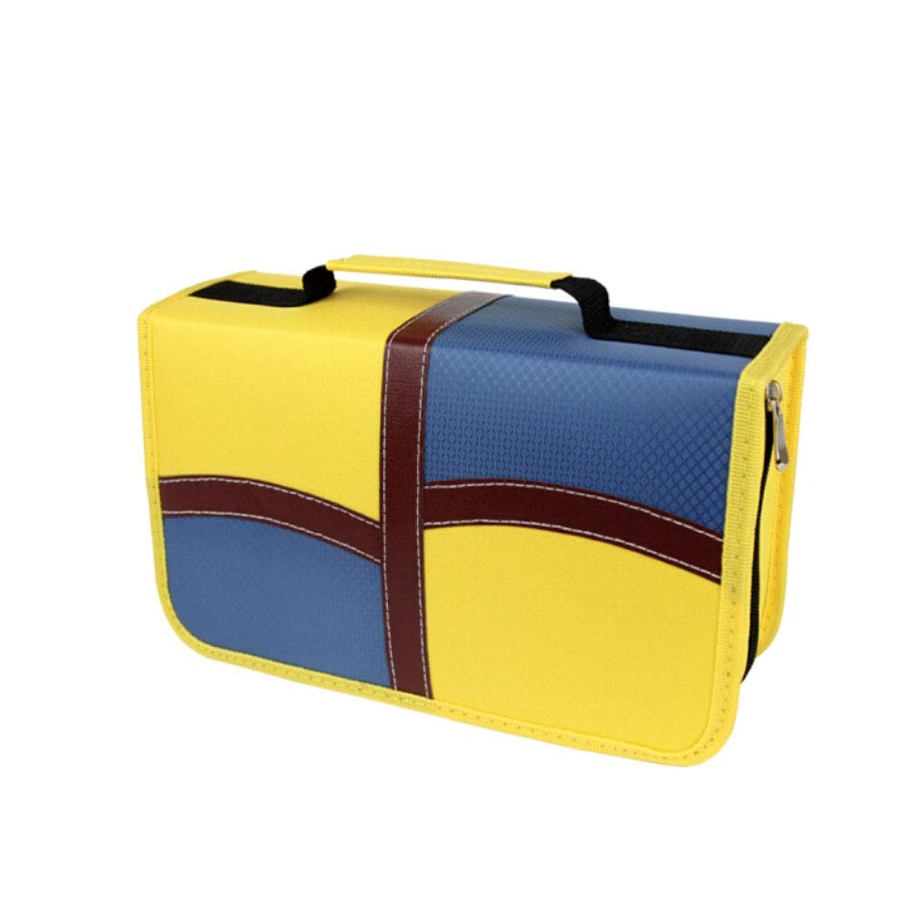 QINRUIKUANGSHAN Large-Capacity Home CD Package, Car Music CD Case, DVD Disc Storage and Finishing Package, 128-piece Blue-Yellow Polyester Cloth Waterproof and Moisture-Proof, Yellow by QINRUIKUANGSHAN