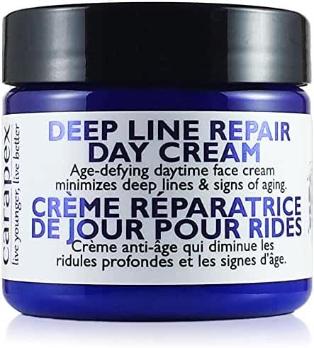 Carapex Deep Line Day Cream, Anti-aging Daily Moisturizer, Gentle Natural Face Cream for Sensitive Skin, Dry, Normal Skin, Unscented, No Paraben, 2oz