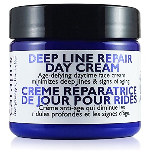 Carapex Deep Line Day Cream, Anti-aging Daily Moisturizer, Gentle Natural Face Cream for Sensitive Skin, Dry, Normal Skin, Unscented, No Paraben, 2oz - Anti Aging Normal Skin Moisturizer