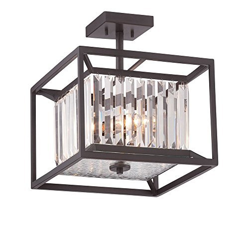 Designers Fountain Model 87411VB Linares 3-Light Vintage Bronze Interior Incandescent Semi Flush ()