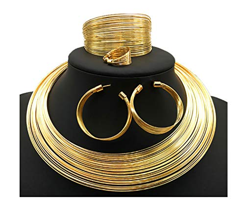 HENGYID African Art Style Multi-Layer Gold Plated Chain Choker Necklace Hoop Earrings Cuff Bangle Bracelet Ring Set (Gold)