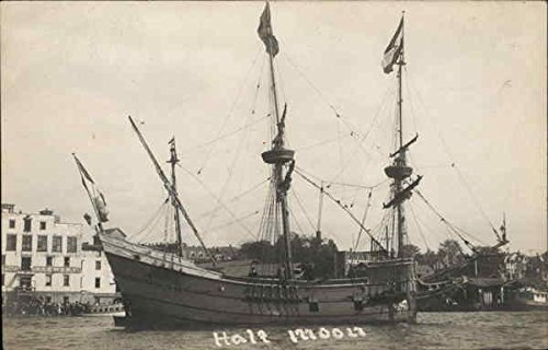 3-Masted Sailing Ship Half Moon Sailboats Original Vintage Postcard