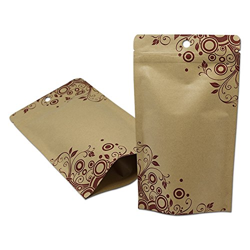 Inner Aluminum Foil Kraft Paper Nuts Packaging Smell Proof Heat Sealable Bags with Tear Notches Stand Up Resealable Ziplock Coffee Gusset Pouch Long Term Emergency Food Storage Supply Snack Wrappers by BAT Pack