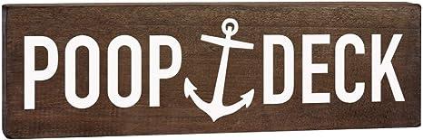 OutdoorIndoor Funny Poop Deck Wall Decor Novelty Metal Arrow Sign 5 x 17