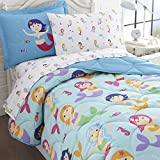 Wildkin 5 Piece Twin Bed-in-A-Bag, 100% Microfiber Bedding Set, Includes Comforter, Flat Sheet, Fitted Sheet, Pillowcase, and Embroidered Sham, Olive Kids Design – Mermaids