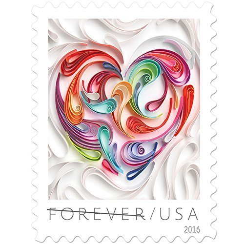 Quilled Paper Heart USPS Forever Stamps Sheet of 20 2016 New Release