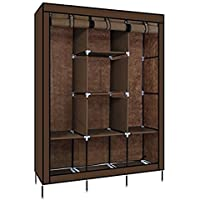 KRISHYAM® Fancy and Portable Foldable Almirah Wardrobe with 6 Cabinet and 2 Long Shelves Clothes Organizer(Brown)