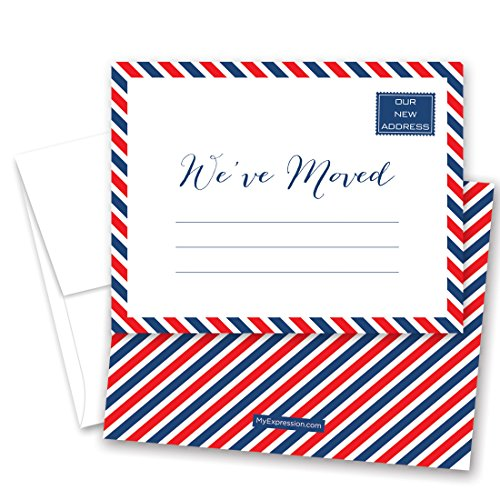 24 Red White Blue Striped Border Fill-In Moving Announcements and Envelopes