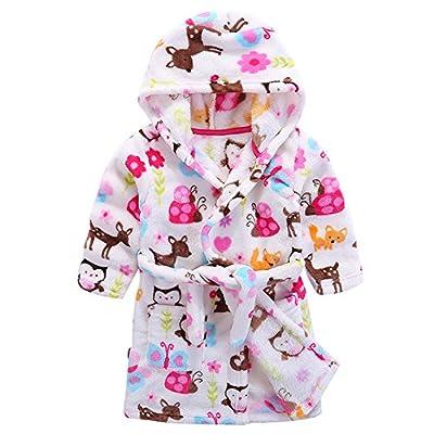 Baby Boy Girl Plush Bathrobe Infant Hooded Robe Tower