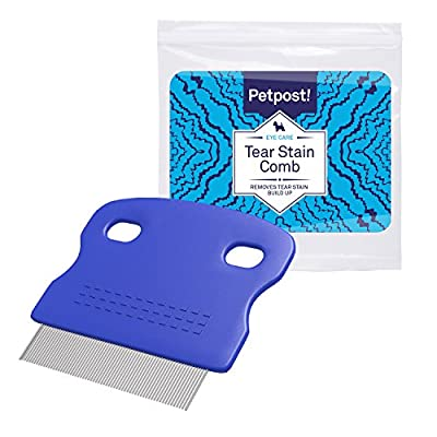 Petpost | Tear Stain Remover Comb for Dogs - Extra Fine Tooth Rake Gently & Effectively Gets Rid of Crust, Mucus, and Gunk Around Your Shih Tsu or Maltese