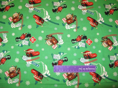 Disney Cars Movie Fuel Tide Fun Christmas Green Cotton Fabric BY THE HALF (Lightning Mcqueen Fabric)