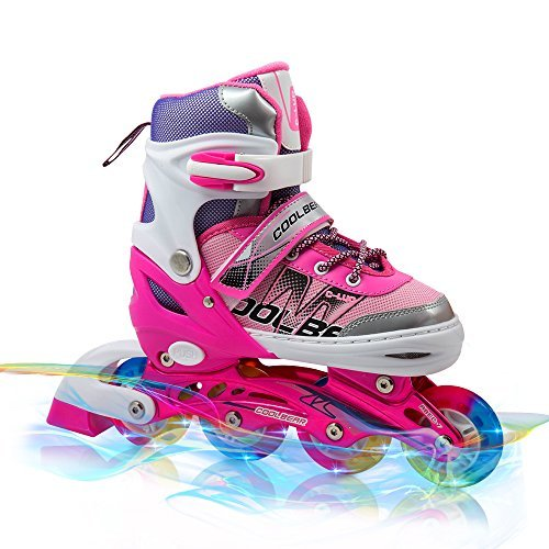 Adjustable Inline Skates for Kids , Otw-Cool Girls Rollerblades with All Wheels Light up , Safe and Durable inline roller skates for Girls