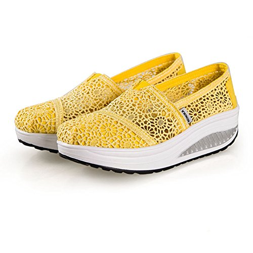 Thict Waking by Base on Lace Womens Loose Slip Btrada Hollow With Yellow Canvas Sneakers Shoes 1fnWOqT