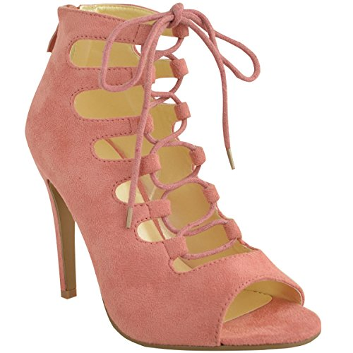 Fashion Thirsty Womens High Heels Stilettos Lace Up Gladiator Ankle Sandals Peep Toe Size 8