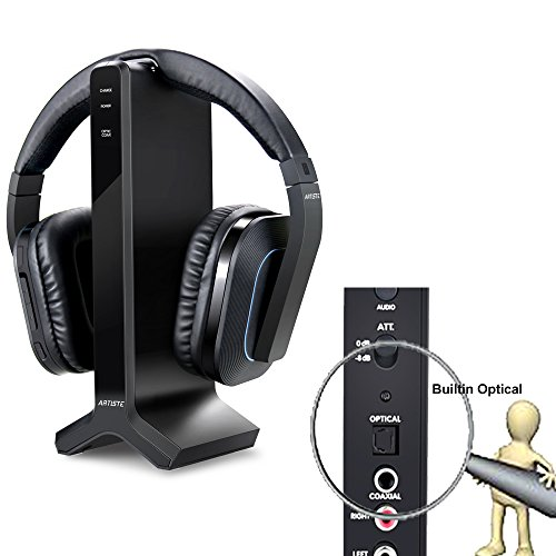 Wireless Stereo TV Headphones, Artiste D1 2.4GHz Optical Fiber TV Headset For TV Listening W/ Digital Output ,20 Hour Battery and Headphones Charging Dock ,Support Samsung Smart SUHD -Black