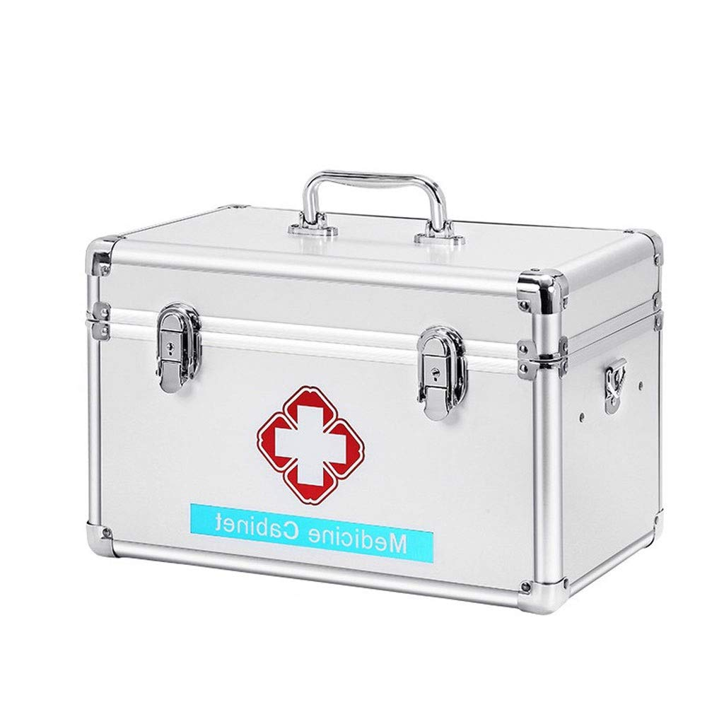 Medicine box Home Multi-Layer Extra Large, Aluminum Alloy, Pink, Silver, Medicine Storage Box HUXIUPING (Color : Silver, Size : 12 inches)
