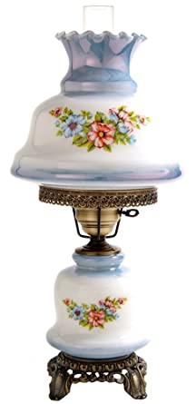 Merveilleux Rhombus Hurricane Table Lamp In Floral W 12 In. Shade
