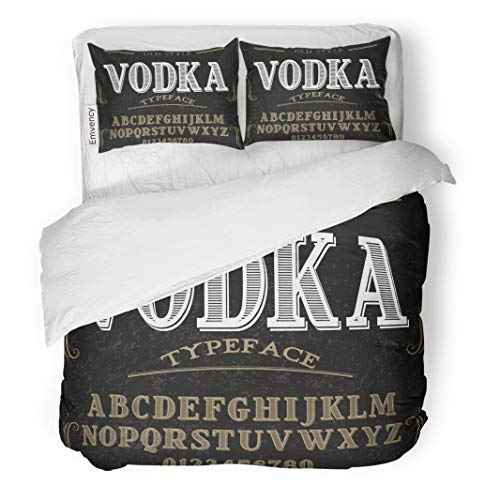 - Semtomn Decor Duvet Cover Set King Size Vintage Alphabet Script Typeface Label Named Vodka ABC Alcohol 3 Piece Brushed Microfiber Fabric Print Bedding Set Cover