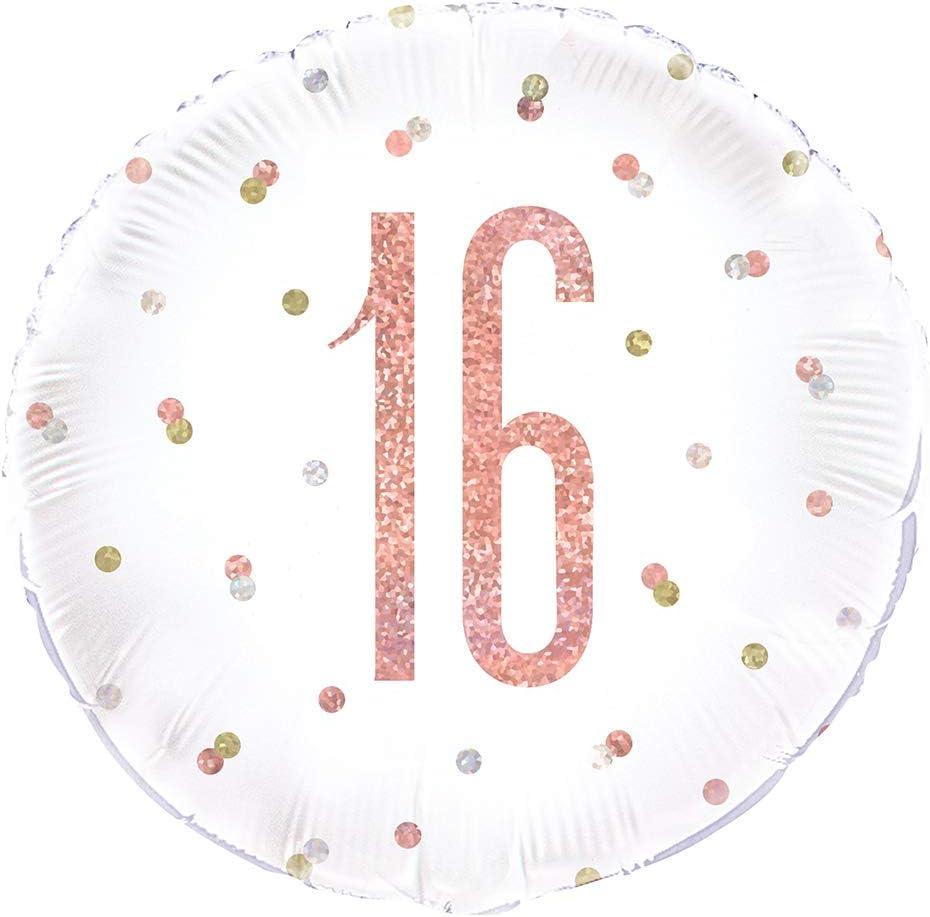 Age 16 Unique Party 84899 84899-18 Foil Glitz Rose Gold 16th Birthday Balloon