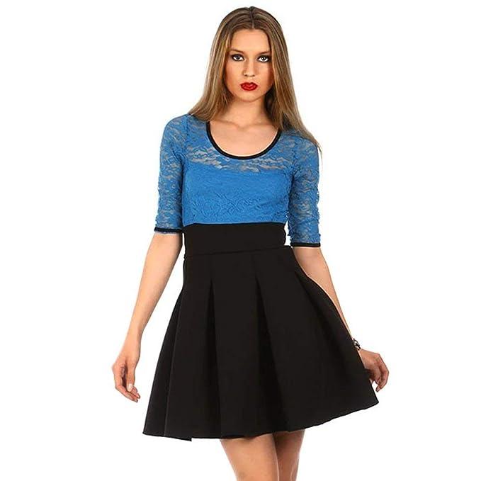 3dac167798 Davani Vestido Elegante Falda Vuelo Negro Azul Unica  Amazon.es  Ropa y  accesorios