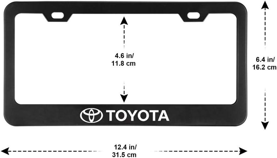Fubai Auto Parts 2pcs Stainless Steel License for Honda Plate Frame with Screw Caps Cover Set Matte Black