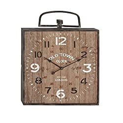 Deco 79 47970 Rusted Wooden Wall Clock, 32 x 26, Black/Brown/White/Red