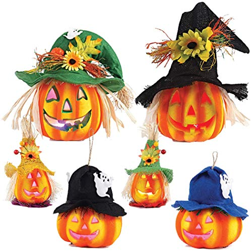 JOYIN Set of 6 Light up Halloween Jack-o'-Lantern Decorative Pumpkin Foam Halloween Decorations Props