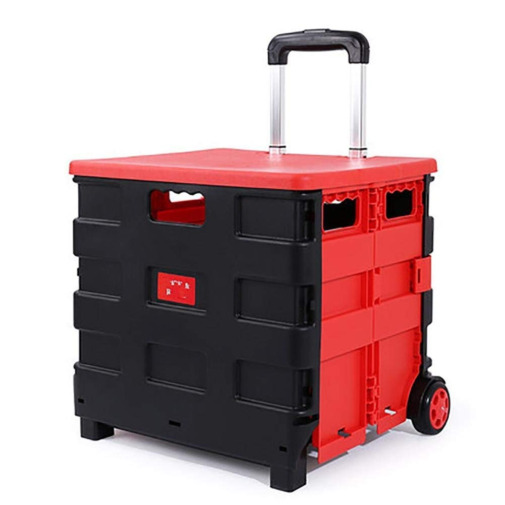 BHXUD Trolley Dolly Supermarket Shopping Grocery Foldable Wheels Cart Creative 40L