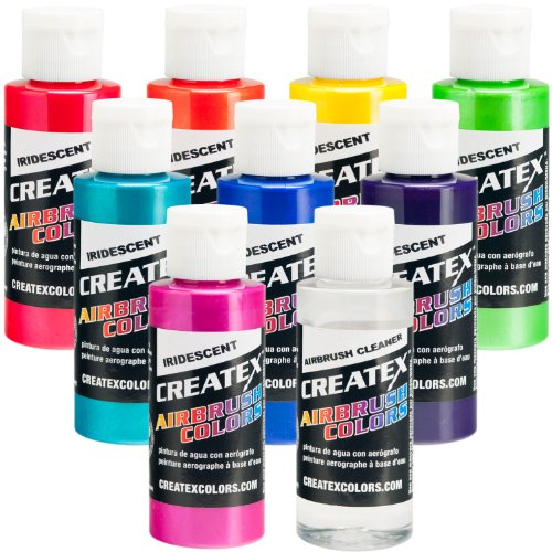 Iridescent 8 Createx Airbrush Paint Colors Set 2 Oz ()