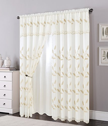 Attached Valance - Elegant Comfort Luxurious Beautiful Curtain Panel Set with Attached Valance and Backing 54