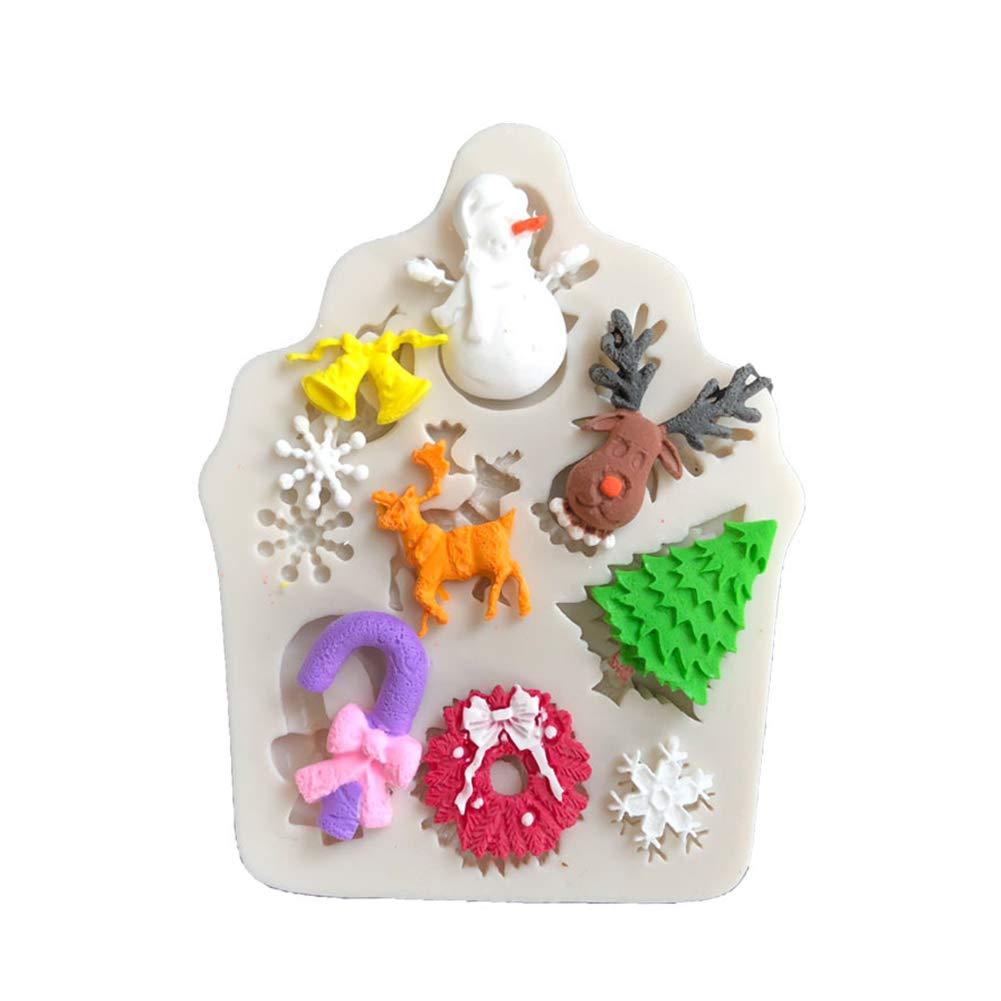 Molde de silicona para decoración de tartas, diseño de reno de Navidad, color blanco: Amazon.es: Hogar