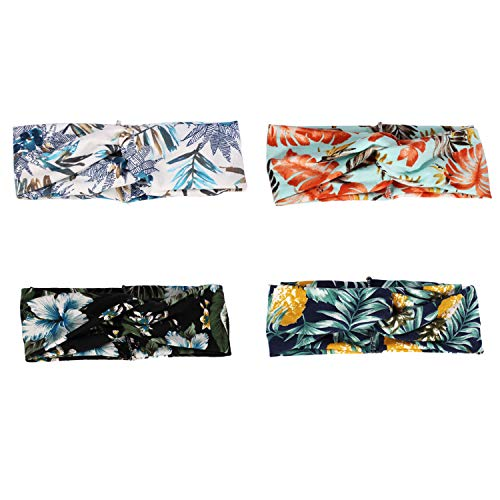 DRESHOW 4 Pack Cloth Headbands for Women Workout Cute Knotted Criss Cross Hairbands Vintage Printed Stretchy Hair Accessories (4 Pack Printed Bohemia)]()