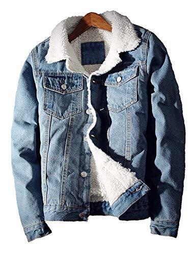Liengoron Men's Casual Winter Long Sleeve Sherpa Fleece Lined Denim Jean Jacket Coat