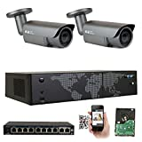 Cheap GW Security AutoFocus IP Camera System, 8 Channel H.265 4K NVR, 2 x 5MP HD 1920P Bullet POE Security Camera 4X Optical Motorized Zoom Outdoor Indoor