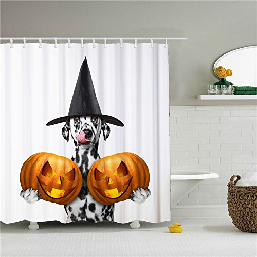 Halloween Pumpkins Time Dog Shower Curtains,Polyester Waterproof Shower Curtains 12 Hooks Included-69