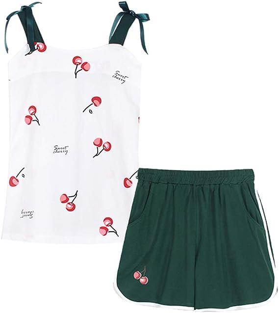 Image ofPareja Pijamas Mujer Elefante Algodón Blanco Moda Tops Pantalones Cortos Lenceria Ropa de Dormir