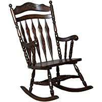 Coaster Home Furnishings  Traditional Nostalgia Arrowback Turned Leg Rocking Chair with Hand Carved Details - Walnut