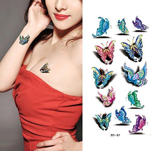 135c984e4 Amazon.com : Oottati Multiple Colorful Cartoon Butterfly Hand Temporary  Tattoo (2 Sheets) : Beauty