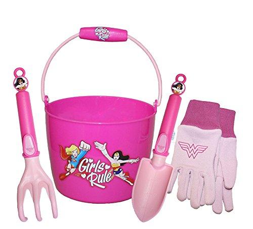 Wonder Woman Kids Garden Combo Pack Including: Plastic Bucket, Cotton Jersey Gloves & Garden Tools, Style: DCWP16P02