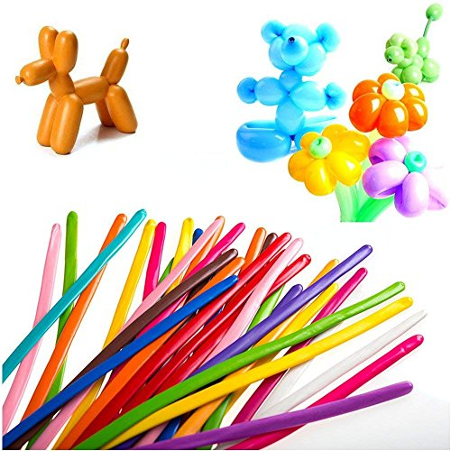 KEOC 200 PCS Latex Twisting Balloons 260Q Magic Balloons Assorted Color Long Balloons for Animal Shape Party, Birthdays, Clowns, Weddings Decorations (no with 1PCS Pump)