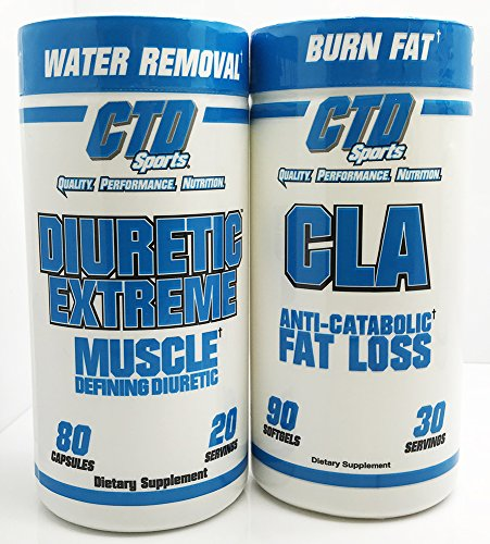 Free CLA 90ct Promo, Water Pills for Men and Women. Extra Strength Natural and Herbal formula for water retention. Diuretic Extreme 80 Capsules Dietary Supplement (Strength Water Pill Diuretic)