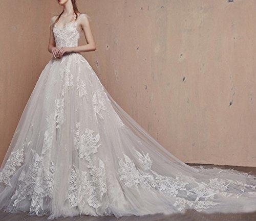 SLR Abito lunga da leggero sposa da sposa sposa semplice una sottile lunga era coda trailing principessa abito spalla MEILI wwfqrB
