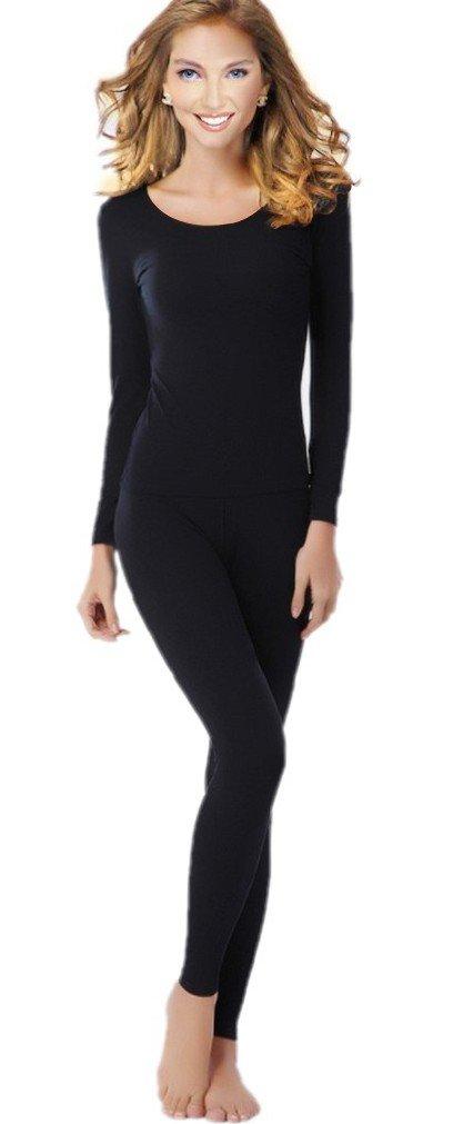 Women's Thermal Underwear Set Top & Bottom Fleece Lined, W1 Black, Large
