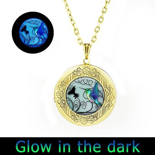 Glowlala glowing Hummingbird locket Jewelry Blue Hummingbird locket Necklace Hummingbird locket Jewelry Bird Art Charm locket Pendant Necklace (1)